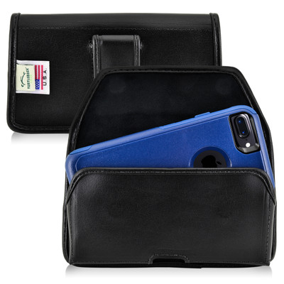 iPhone 6S Leather Horizontal Holster Black Belt Clip Fits Otterbox Commuter
