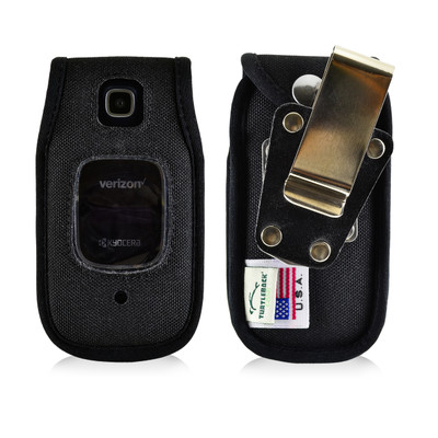 Kyocera Cadence Flip Phone Case Black Nylon Removable Metal Clip