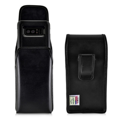 Galaxy Note 8 Vertical Leather Holster for Otterbox Commuter Case Black Clip and Fits Bulk Cases