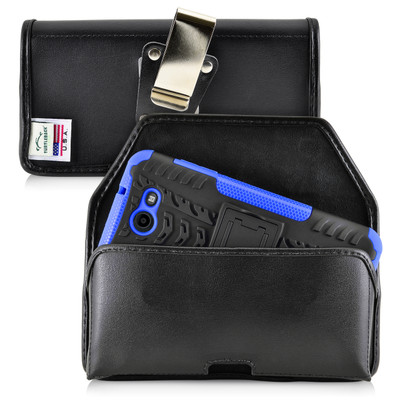 Galaxy J7 2017 Prime, Perx, Halo BULKY Holster Black Leather Rotating Belt Clip