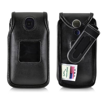 Alcatel Go Flip Black Leather Fitted Case, Ratcheting Removable Belt Clip