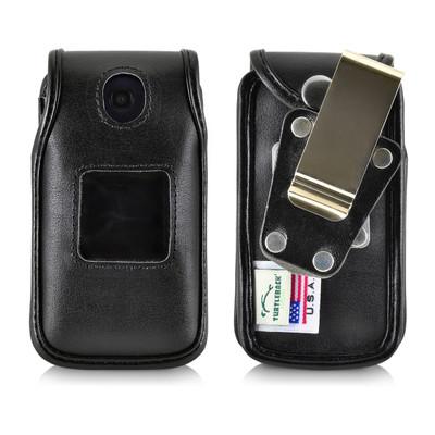 Alcatel Go Flip Black Leather Fitted Case Ratcheting Removable Belt Clip