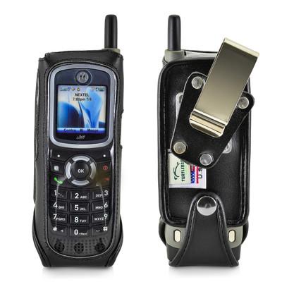 Motorola i365 Black Leather Phone Case with Removable Metal Belt Clip - Bottom Closure
