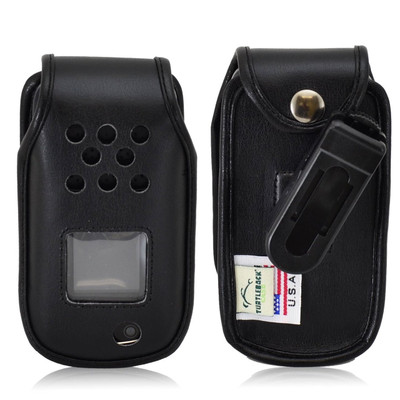 Samsung Rugby 4 Flip Phone Leather Fitted Case with Ratcheting Belt Clip