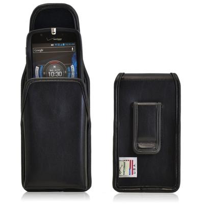 Casio GzOne Commando 4G LTE C811 Vertical Leather Holster, Black Belt Clip