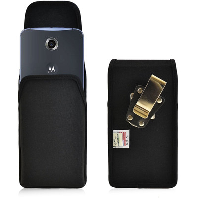 Google Nexus 6 Vertical Nylon Holster, Metal Belt Clip