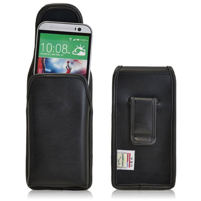 HTC One M8 Vertical Leather Holster, Black Belt Clip