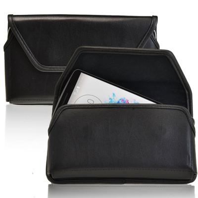 LG G3 Horizontal Leather Holster, Black Belt Clip