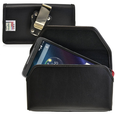 Motorola Droid Turbo Horizontal Leather Holster, Metal Belt Clip