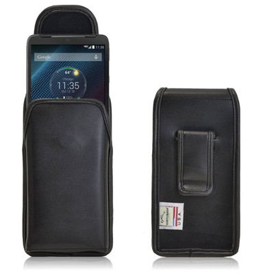 Motorola Droid Turbo Vertical Leather Holster, Black Belt Clip