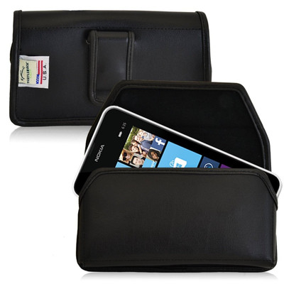 Nokia Lumia 635 Horizontal Leather Holster, Black Belt Clip