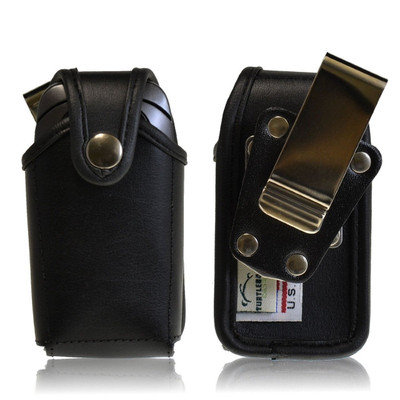 Pantech C520 Breeze Leather Holster, Metal Belt Clip, Snap Closure