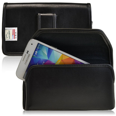 Samsung Galaxy S5 Horizontal Leather Holster, Black Belt Clip