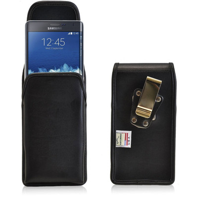 Samsung Note Edge Vertical Leather Holster, Metal Belt Clip