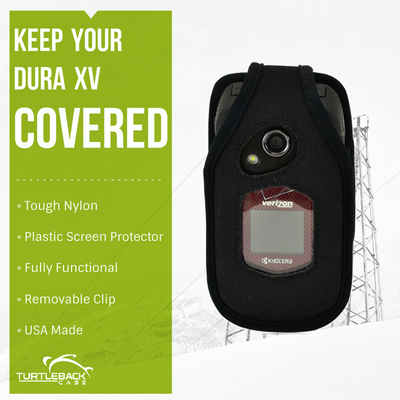 Kyocera DuraXV and DuraXA Heavy Duty Nylon Phone Case with Removable Metal Clip