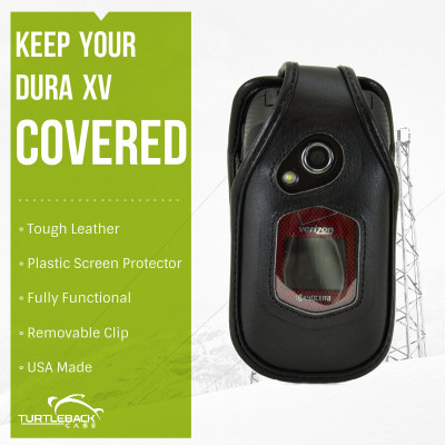 Kyocera DuraXV and DuraXA Heavy Duty Black Leather Phone Case with Removable Metal Clip