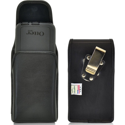 Vertical Leather Extended Holster for HTC One M9 with Bulky Cases, Metal Belt Clip