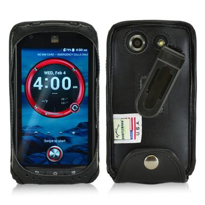 Kyocera DuraForce E6560 Executive Black Leather Case Phone Case with Ratcheting Belt Clip