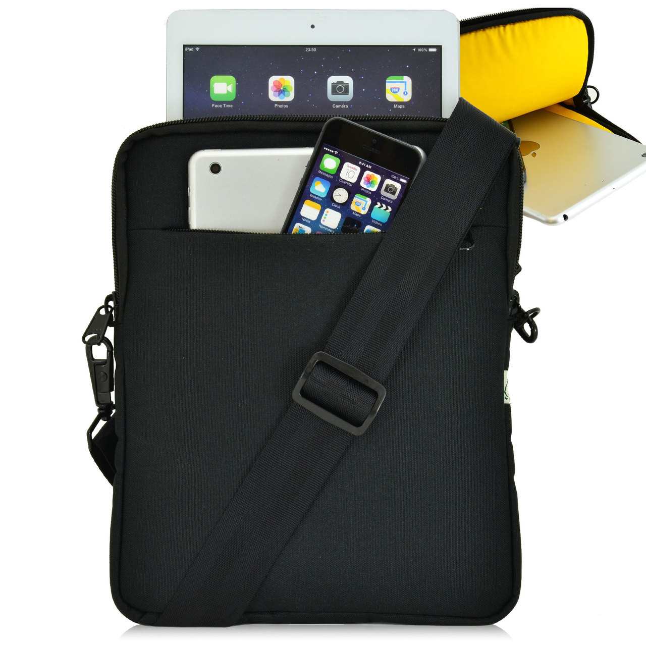Tablet Pouch Shoulder Bag, Yellow Interior Fits Devices up to 10.5 ...