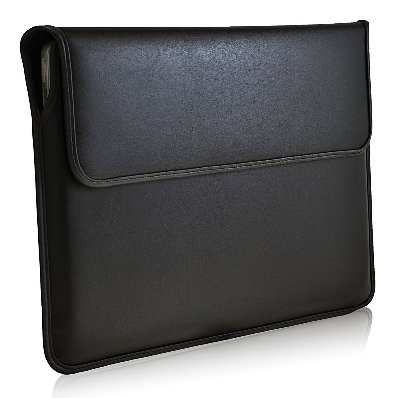 Black Leather 13.3in Laptop Sleeve Case