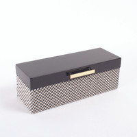 Jewelry Box Blk Chevron Lacq