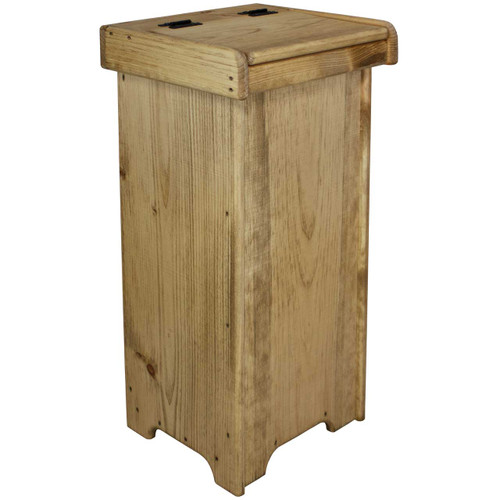 ... bins; Small Wooden Kitchen Trash Can with Lid. Image 1