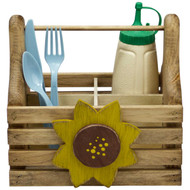 (sunflower-design) wooden-silverware-and-condiment-caddy-