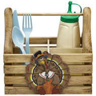 (thanksgiving-turkey-design) wooden-silverware-and-condiment-caddy-