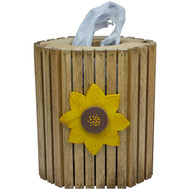 (sunflower-design) Wooden Plastic Bag Dispenser