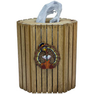 (pilgrim-turkey-design) Wooden Plastic Bag Dispenser