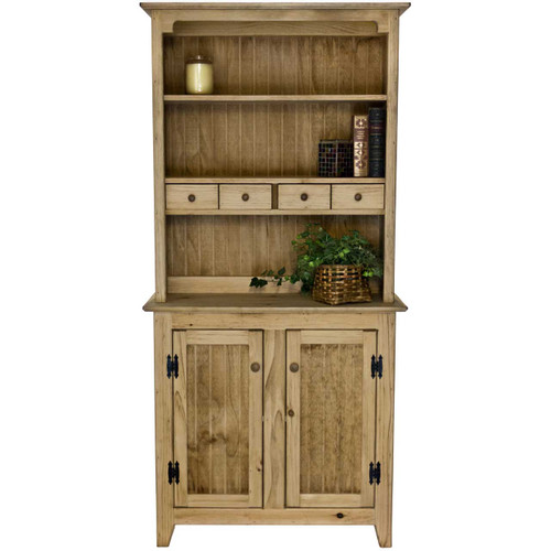 Front View Small Pine Kitchen Hutch