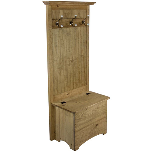 (angled View) Small Hall Tree Entryway Coat Rack Bench