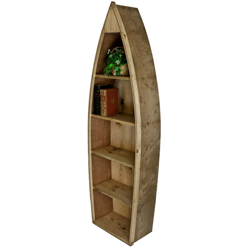 (angled view) Wooden-Boat-Bookcase - Wooden Boat Bookcase Boat Shaped Bookcase Furniture