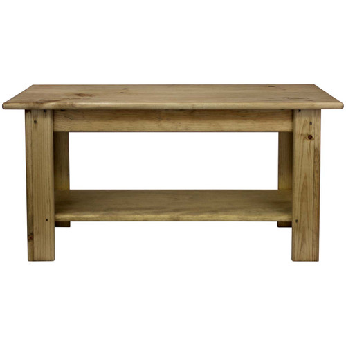 Rectangular Coffee Table With Shelf Unfinished Pine