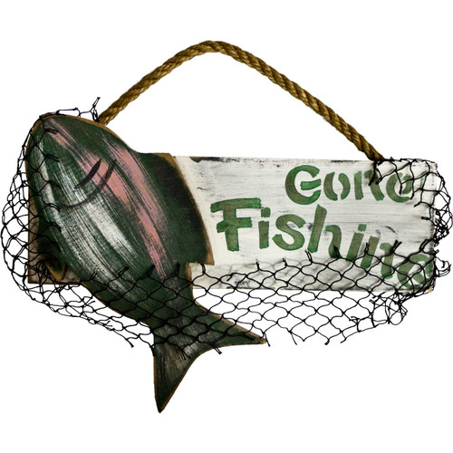 Gone Fishing Signs Decor: Wall Decor Wooden Signs