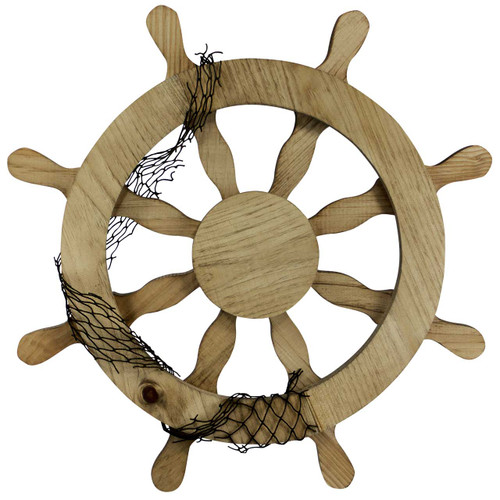 Front View Wooden Ship Wheel Wall Decor