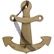 (front view) Wooden-Anchor with net-Wall-Decor