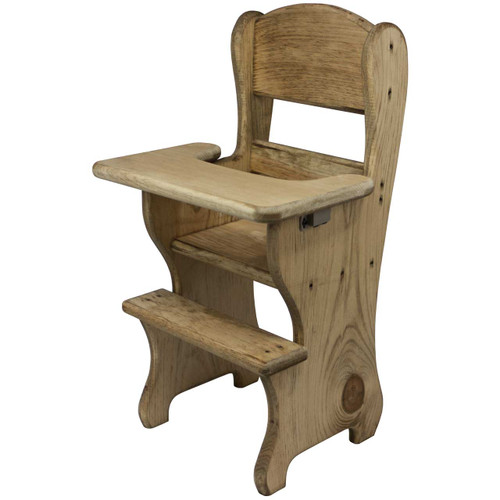 Wooden Toy High Chair For Dolls (angled View