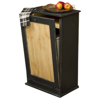 Distressed Black Wood Tilt Out Trash Bin Cabinet