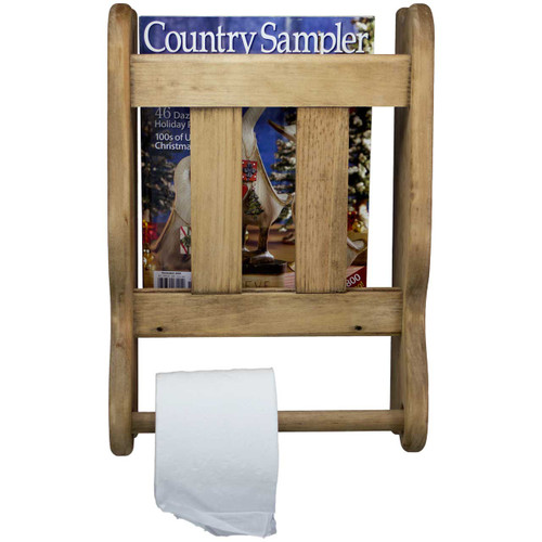 Wall Mounted Magazine Rack Solid Wood (front View)