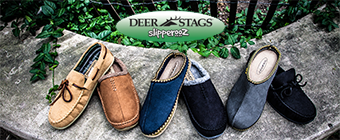 Deer Stags slippers placed on ledge outside near fence and plants