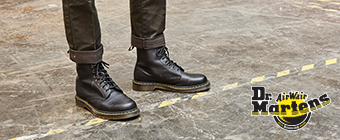 Close up of man wearing Dr. Martens