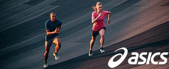 Two people running wearing Asics