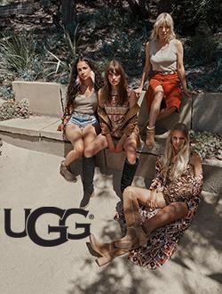 Women sitting on stone bench wearing UGG