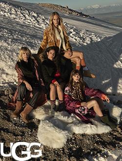 Women sitting near snow wearing Ugg