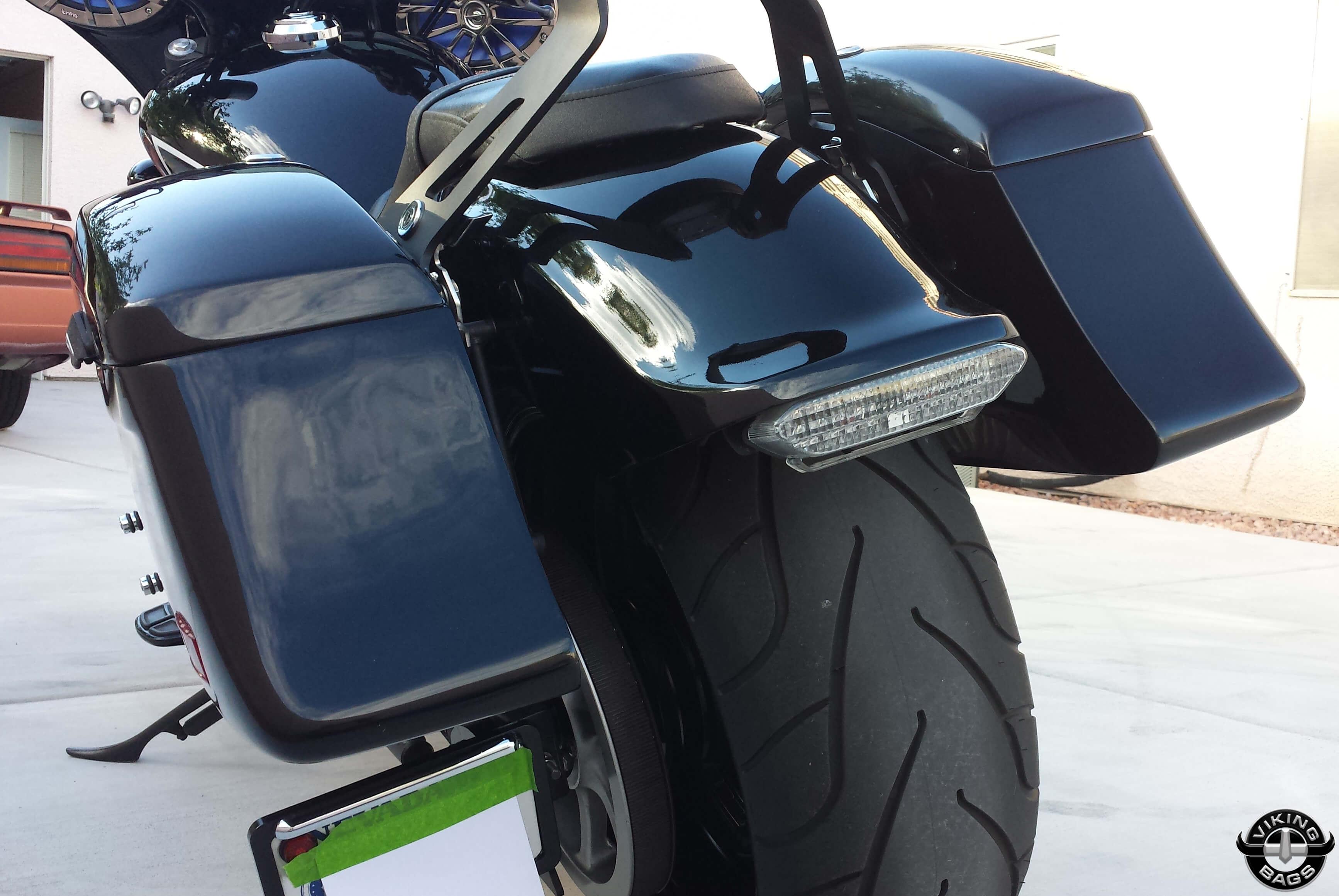 Viking lamellar slanted painted hard saddlebags viking bags for Yamaha stryker saddlebags