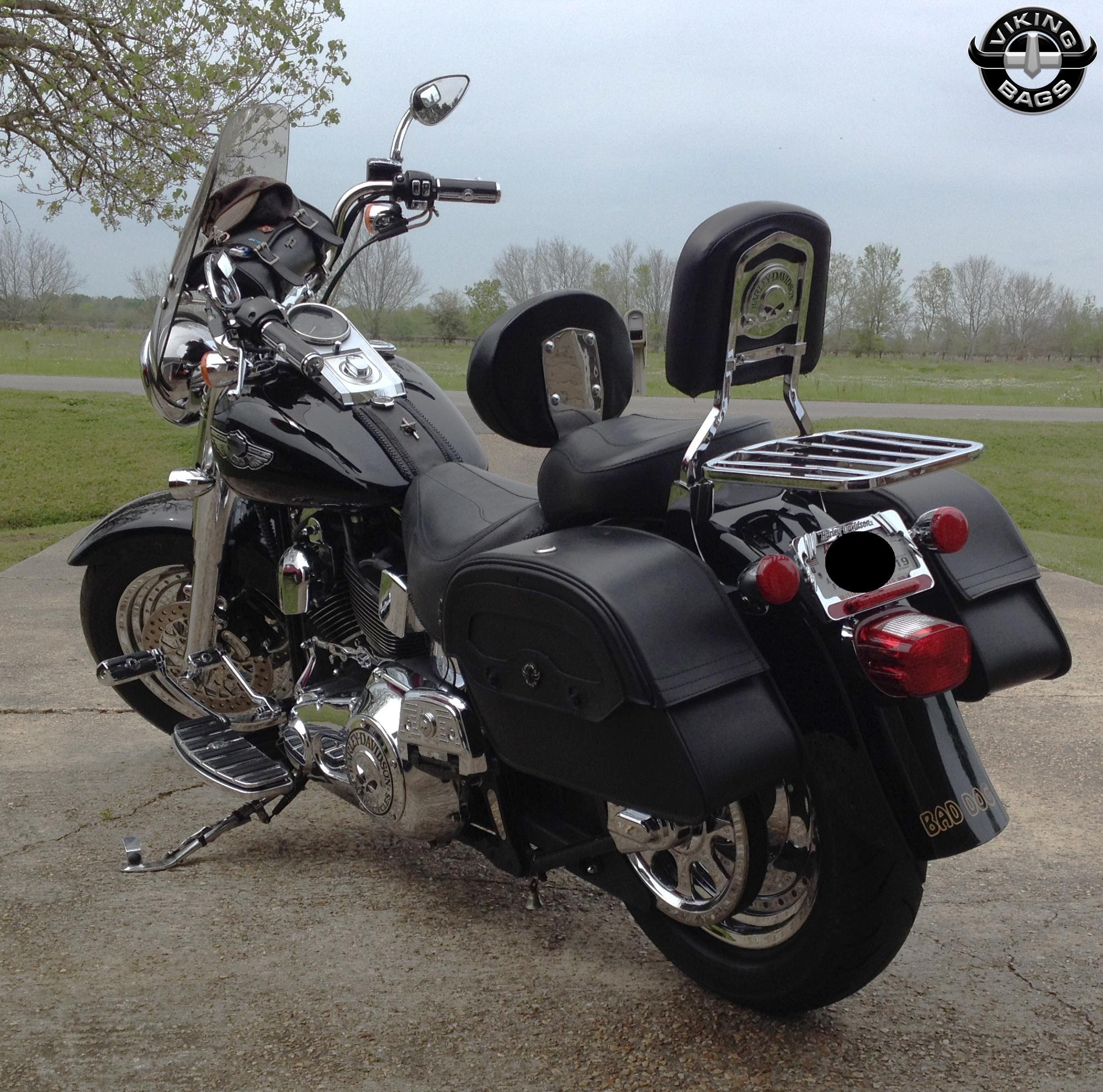 Harley davidson softail motorcycle luggage customer photo for Motor cycle saddle bags