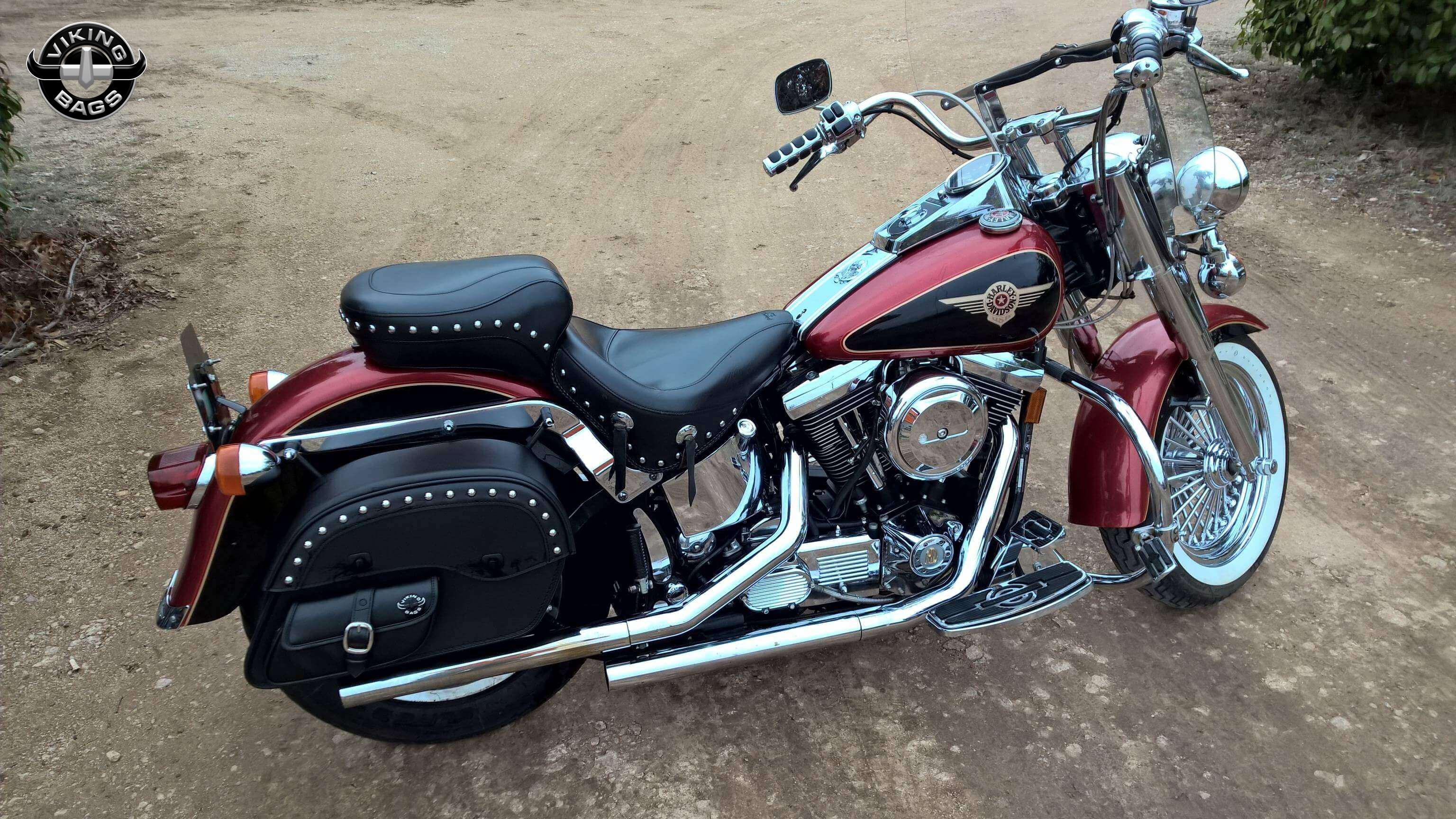 harley softail fatboy motorcycle saddlebags uni ss side pocket studded. Black Bedroom Furniture Sets. Home Design Ideas