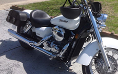 Vickie Wilson's '07 Honda Shadow w/ Charger Motorcycle Bags