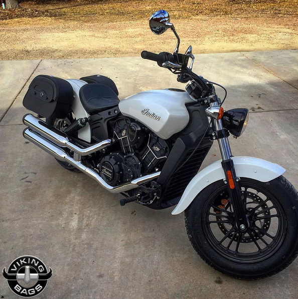 Indian Scout w/ Warrior Series Motorcycle Saddlebags